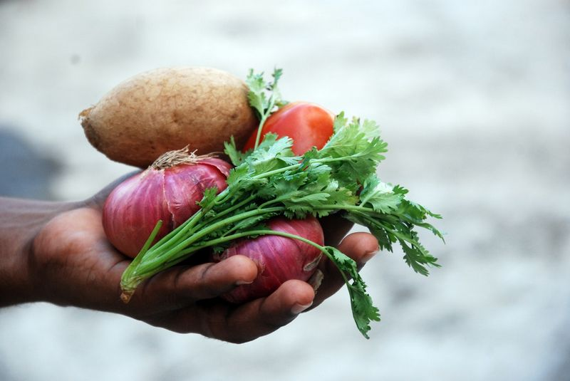 лук и овощи